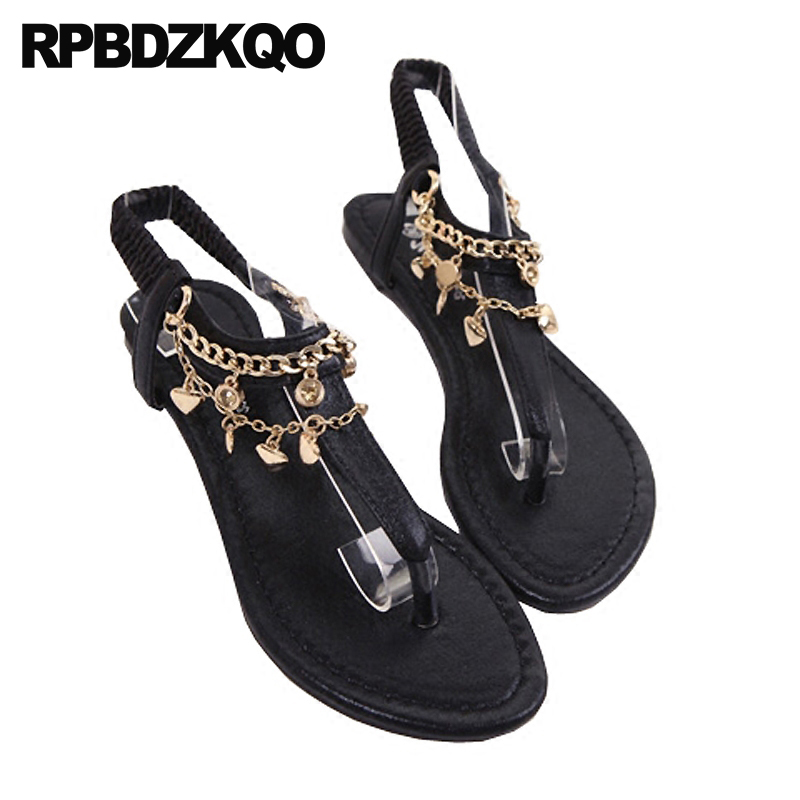 5e5386a67eb8f9 Soft Bohemia Women Embellished Flat Leisure Strap Sandals Shoes Fashion T Style  Chain Cheap Diamond Crystal ...