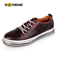 SERENE2016 New Spring Men Carved Leather Shoes Lace Up Casual Flats British Retro Style Old Deal