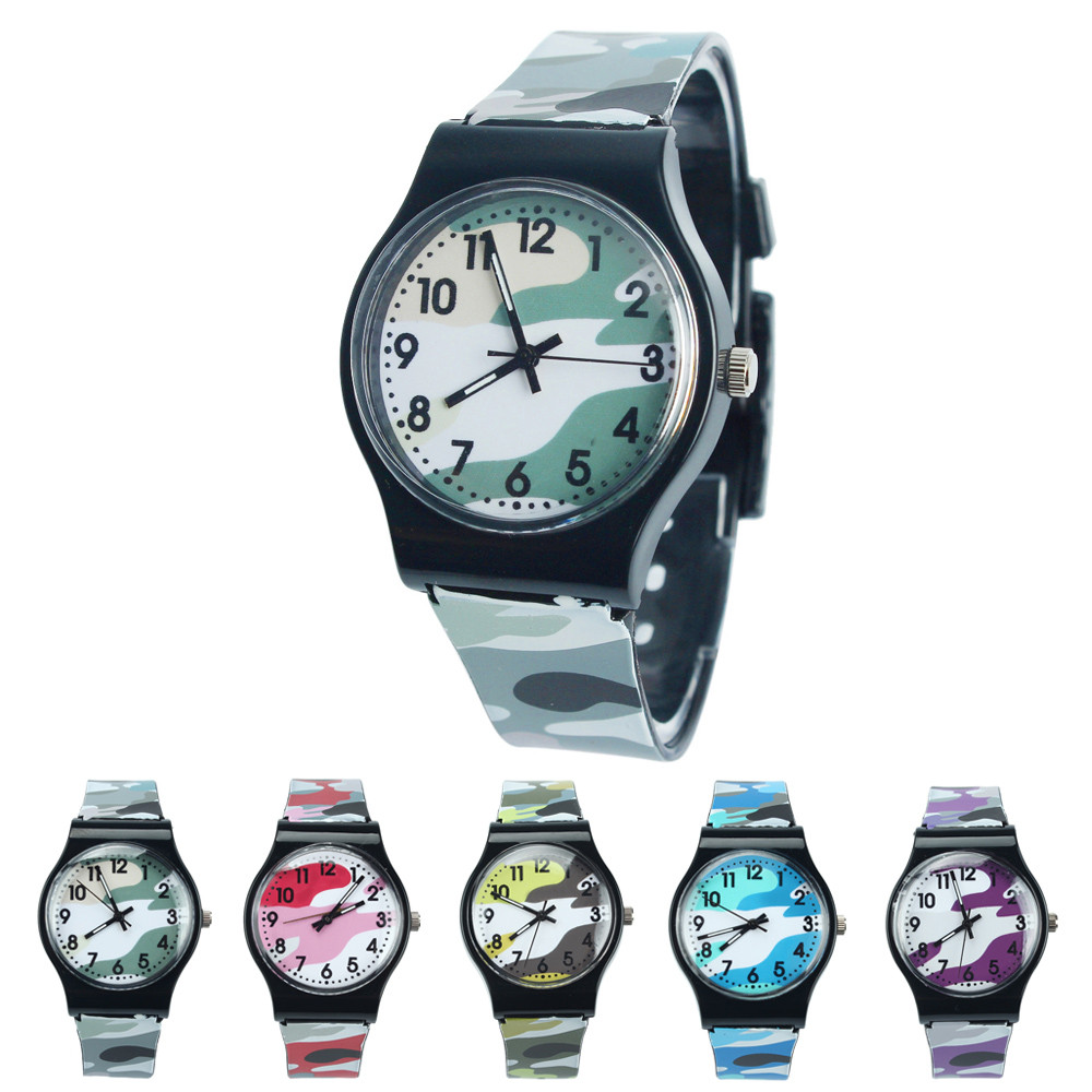 Hot New Fashion Silicone Camouflage Child Boys Kid Chilren Wrist Watch Printed Sports Quartz Watch For Girls Boy gift Relogio#77 splendid brand new boys girls students time clock electronic digital lcd wrist sport watch