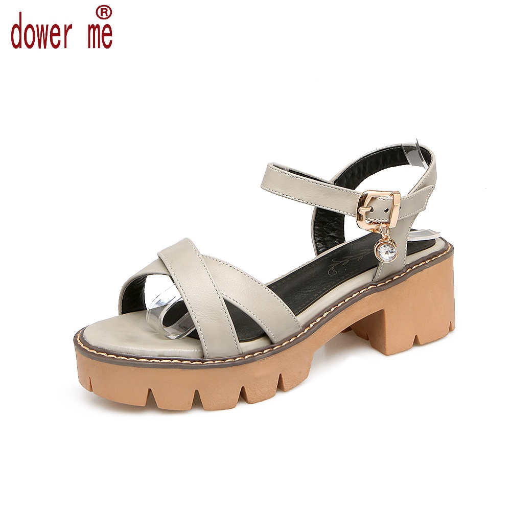 Spring&Summer New 2017 Sandals Shoes Woman Buckle Sandals Women Pu Leather Open Toe Gladiator Square Heel Shoes Zapatos Mujer 2014 spring and summer new elegant gold buckle leather shoes women shoes carrefour