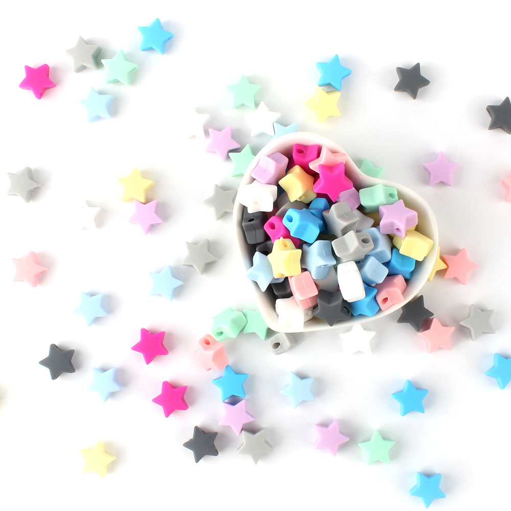 30 Pcs Silicone Star Beads Food Grade Baby Chewable Teething Beads For Nursing Necklace DIY Jewelry Making Accessories