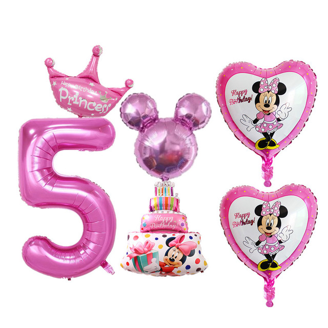 1 Set Boy Girls 5 Years Old Birthday Party Balloons Digital Star Heart Foil For Kids Happy Decoration