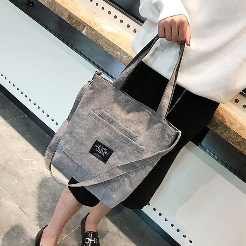 Women Corduroy Shopping Bags Reusable Tote Ladies Casual Shoulder Bag Foldable Beach Shopping Bag Cotton Cloth Female Handbag in Top Handle Bags from Luggage Bags