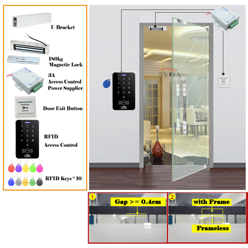 Locks, Keys Rfid Access Control System Kit Frameless Glass Door Set+eletric Bolt Lock+id Car Collectibles