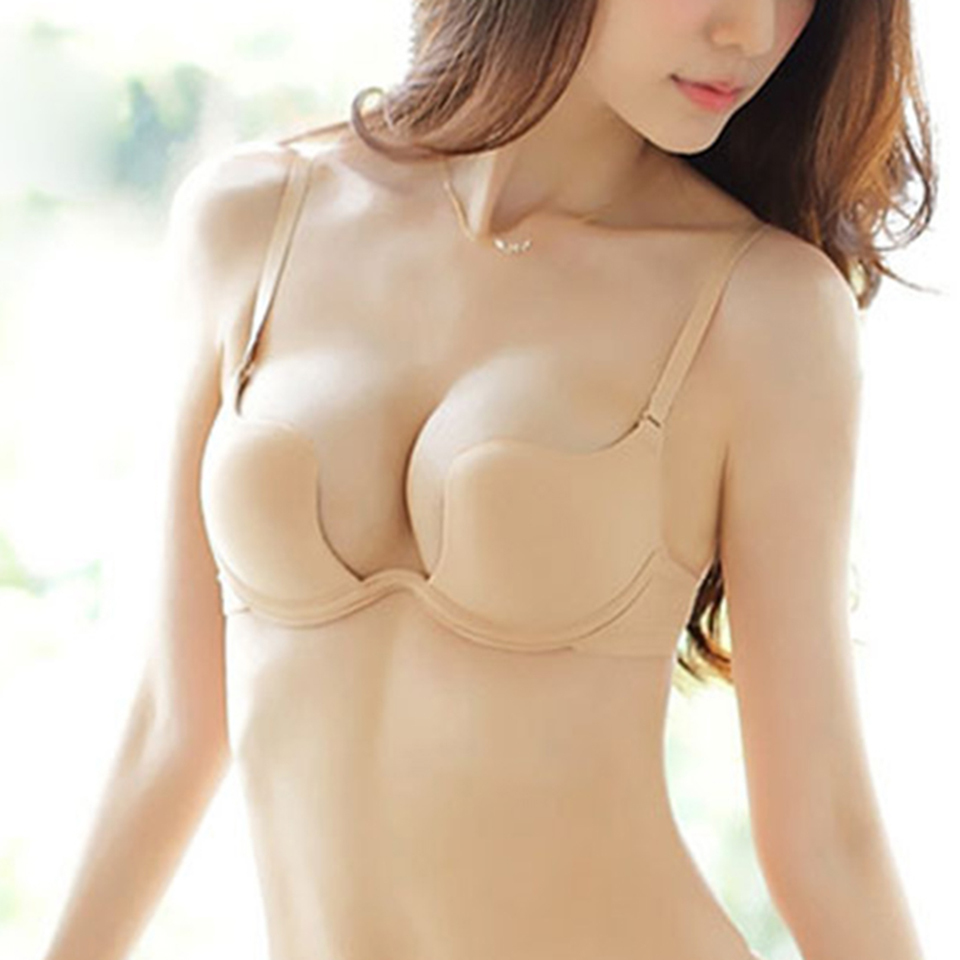 Women Bra Low Cut Sexy Push Up Backless Invisible V Ear Wing Seamless Silikon Sillicon Convertible
