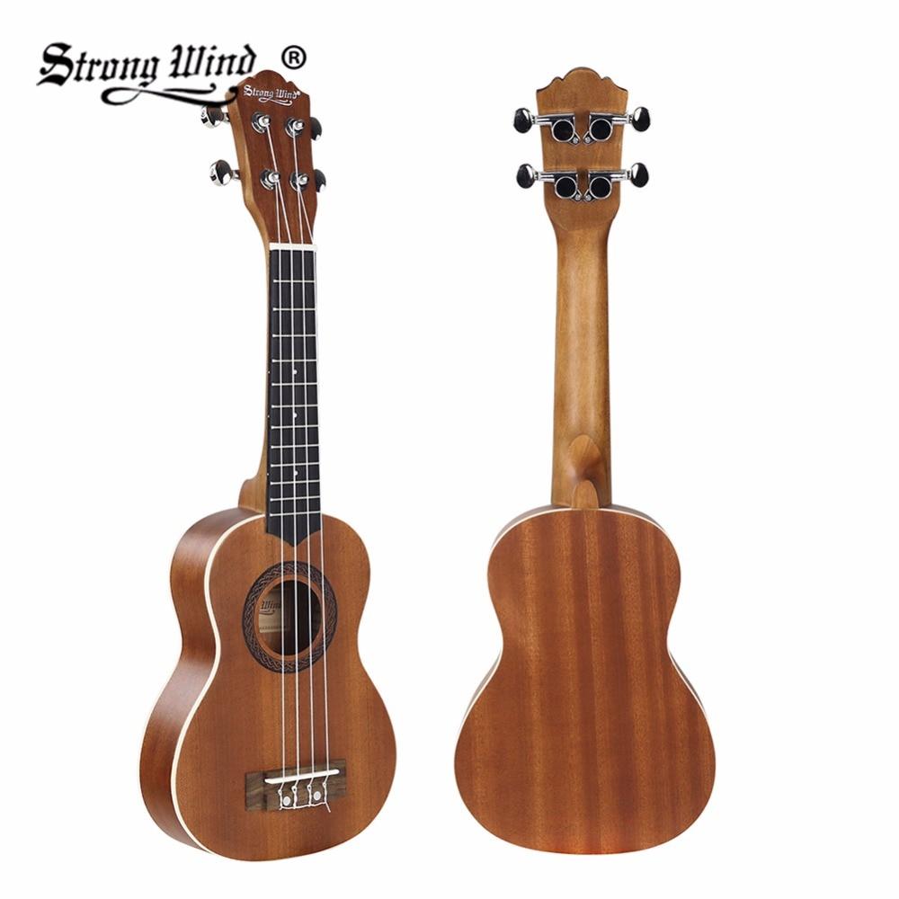 Strong Wind 21 Sapele Soprano Acoustic Ukulele Guitar 4 Nylon Strings Ukelele Guitarra Handcraft Closed Knob Wood Brown