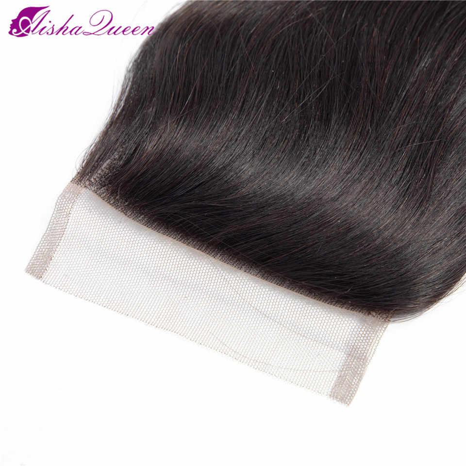 Aisha Kraliçe Brezilyalı Vücut Dalga Dantel Kapatma Doğal Renk 10-22 Inç 4*4 Olmayan Remy İnsan Saç kapatma Ücretsiz/Orta/Üç Parçalı
