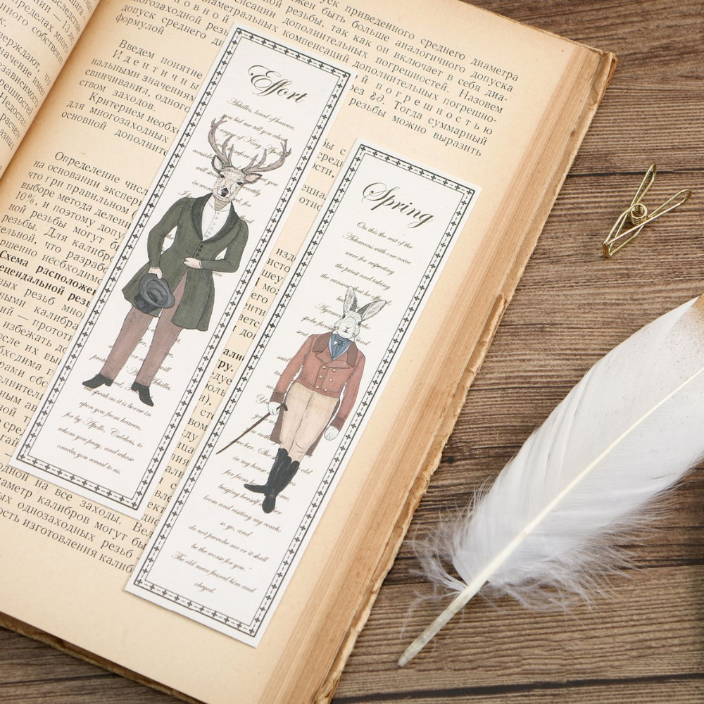 Vintage Bookmarks Homer's Epic Animals Retro Page Marker For Book Cute Cat Deer Stationery Bookmarks 30pcs Kawaii School