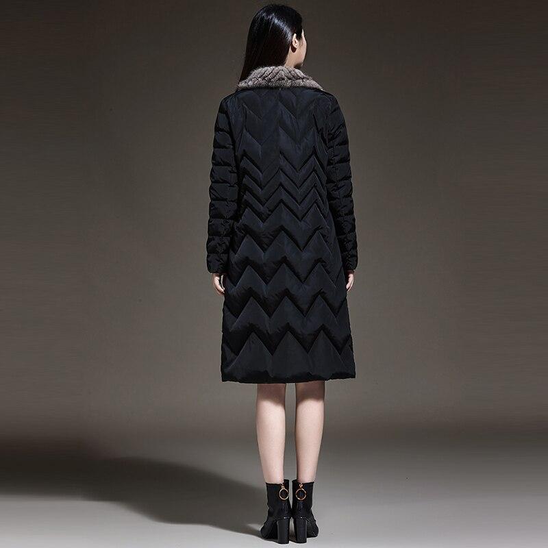Noir Femelle Vers Vison De Yp2130 Occasionnel Outwears Slim Down Vestes D'hiver Parkas Bas Fourrure Nouveau Le Femmes Manteaux Mode Long HqwwBZ
