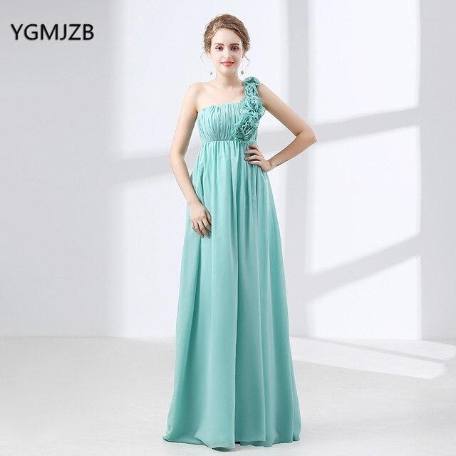 e8a38391020 Long Chiffon Bridesmaid Dress 2018 A line One Shoulder Flowers Floor Length  Cheap Bridesmaid Dress Plus Size Wedding Party Dress