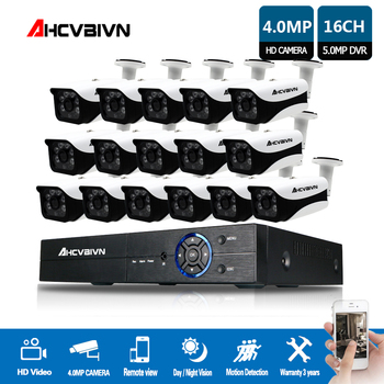 AHCVBIVN 16CH 5MP AHD DVR Kit CCTV Camera System 16PCS 4.0MP Security Camera IP66 Outdoor Video Surveillance System APP View