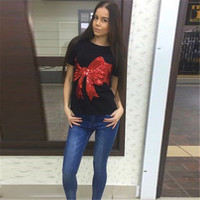 2017 New Arrivals Red Bow Sequined Women T Shirt European Fashion Summer T Shirt Ladies Casual