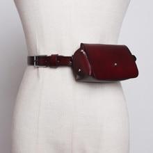 حقيبة خصر أنيقة للنساء من جلد البقر الطبيعي حقيبة صغيرة للنساء بتصميم كلاسيكي 2019