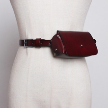 Prawdziwa krowia kobiet talii pakiety moda Vintage skórzany piterek Mini 2019 nowy telefon w stylu retro torby mała saszetka na pasek