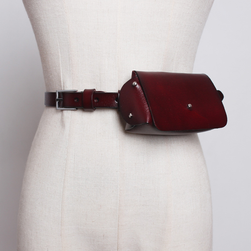 Real Cow Women Waist Packs Fashion Vintage Leather Fanny Pack Female Mini 2019 New Retro Phone Bags Small Belt Bag
