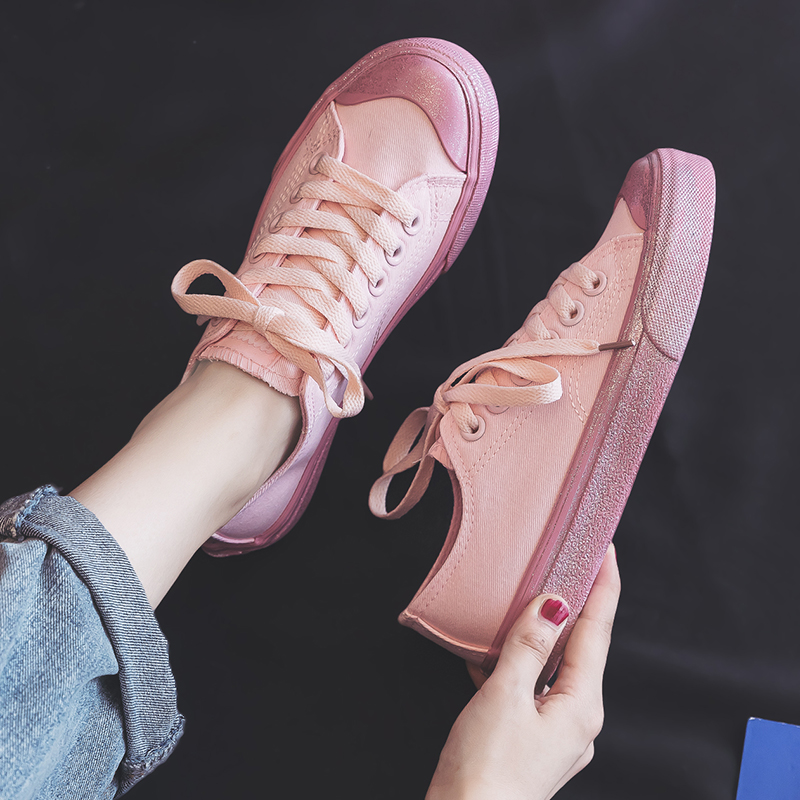 Fashion Women's Vulcanize Shoes Spring Summer Fashion Pink Korean Style Women Canvas Shoes Flats Women Casual Fashion Sneakers