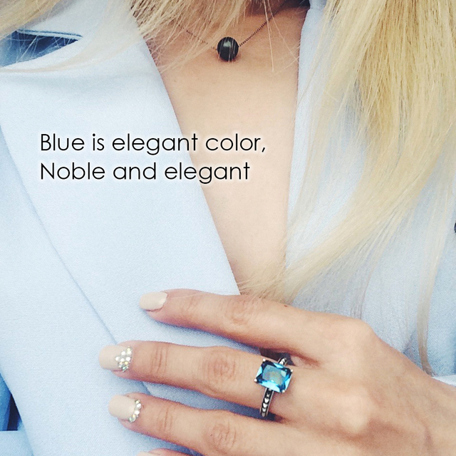 925 Sterling Silver Rings Wholesale Wedding Engagement Party Luxury Blue Stone Rings Best Gifts 2018 New Arrival Say You Say Me