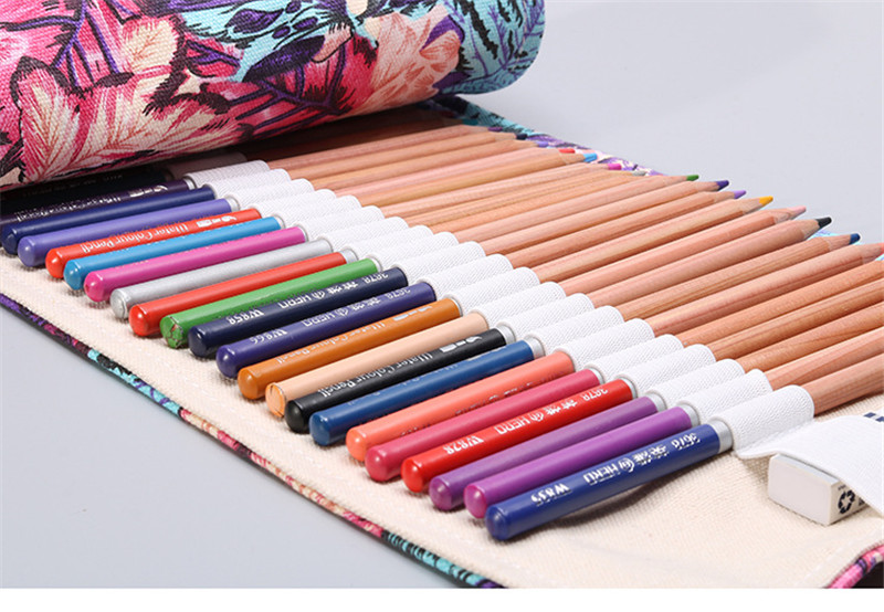 12/24/36/48/72 Roll School Pencil Case Kawaii Canvas Pen Bag Penal for Girls Boys Cute Large Pencilcase Penalties Box Stationery