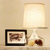 Fashion European Glass Table Lamps Bedroom Table Lights With Glass Vase Fabric Cover Art Decor Home
