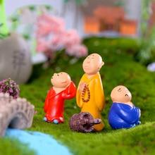 4pcs Monks Pray Buddist unhappy miniature Bonsai garden furniture resin craft model fairy home decoration accessories decor