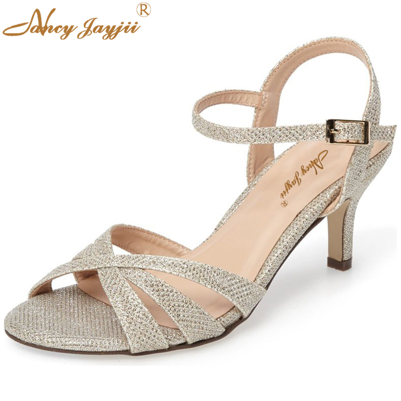 ФОТО Nancyjayjii Woman 2017 Summer Sexy Gold&Silver Glitter Air Mesh Ankle Buckle Strap Low Heels Sandals Women Shoes,Big Size 4-16.