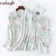 Deux pièces ensemble Pyjama à manches longues pyjamas pour femmes Apring automne Lingerie vêtements de nuit Pijama Femme coton maison vêtements Fdfklak