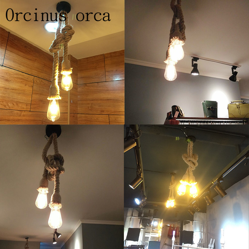 The retro industrial wind pipe rope chandelier cafe bar individuality clothing store double decorative rattan Chandelier single head screw caps big industrial style hotel individuality clothing store decoration edison light bulb shop gold chandelier