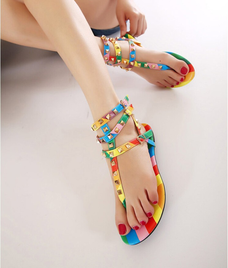 9e2230d448f776 ... flat sandal ankle strap designer summer shoes for women rivet sandals.  season summer. material PU. 1 11 111 1111 11111 111111 1111111 11111111