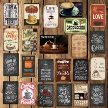 [ WellCraft ] Coffee Menu Cafe House Love Metal Sign Posters art Vintage Mural Painting Personality Custom Decor LT-1740