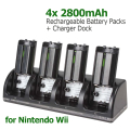 4 x 2800mAh Rechargeable Battery Packs + Charger Station Dock Cradle Stand for WII Remote Control