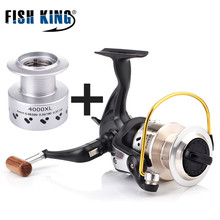FISH KING XL Fiber Drag Spinning Fishing Reel With Spare Spool 9 1BBs 5.3:1/4.8:1 Freshwater Fishing Reel for Bass Pike Fishing
