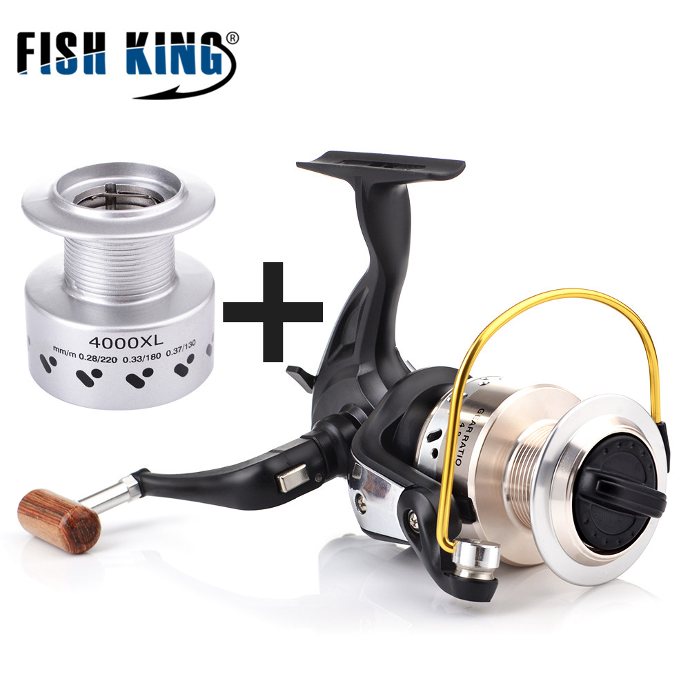 FISH KING XL Fiber Drag Spinning Fishing <font><b>Reel</b></font> With Spare Spool 9+1BBs <font><b>5.3:1</b></font>/4.8:1 Freshwater Fishing <font><b>Reel</b></font> for Bass Pike Fishing image