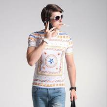 2017 Summer Latest Design Style Europe Men's Casual T shirt O-Neck Print Short Sleeve Slim Breathable Male Luxury T shirt M-4XL