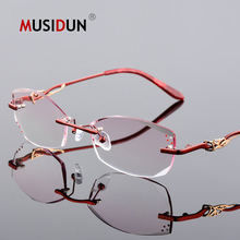 Diamond Trimmed Cutting Titanium Rimless Eyeglasses Women Fashion Luxury brand Optical reading Glasses Prescription Lady Q111