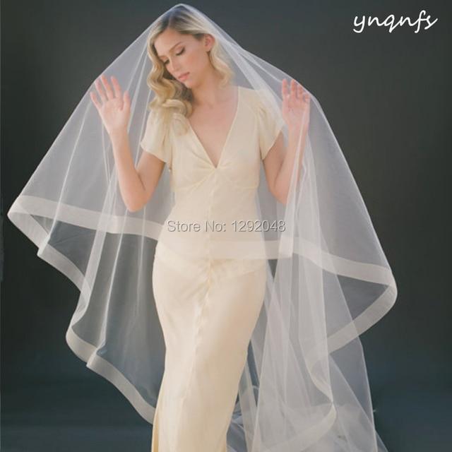 Real Boned Edge 3m Long Cathedrail Veil Voile de Mariee Velo Simple Champagne Wedding Veil  Bridal Veil Blusher Veil WV3