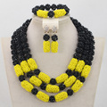 African Crystal Beads Jewelry Set Black/Yellow 3 Rows Design Nigerian Wedding Bridal/Bridesmaid Jewelry Set Free Shipping ANJ038
