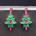 Luxury Rhombus Flower Lab-created Ruby&Emerald White/Champagne Gold Plated Wedding Earring 2colors