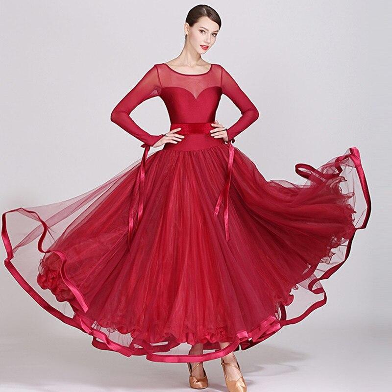 Robes de danse de salon rouge foncé costume de salon robe de valse viennoise longue robe de salon robe espagnole standard costumes de tango