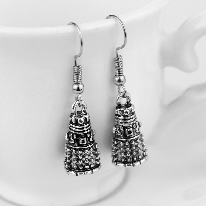 Popular Movie Dr Doctor Who Dalek Earrings Vintage Antique Silver Alien Robot Drop Earrings