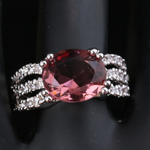 Good-Looking Oval Multigems Pink Cubic zirconia 925 Sterling Silver Trendy Women's Party Jewelry Rings Size 6 7 8 9 S1750