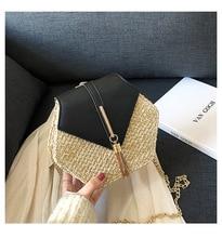 Summer Beach Rattan Bag Handmade Woven Circle Handbag Bohemia New Fashion Straw for Women 2019 Pu Leather Handbags