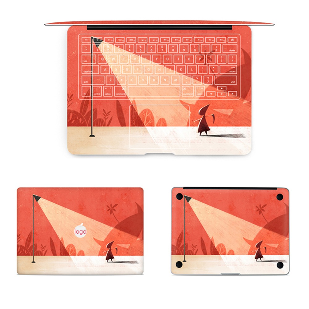 GOOYIYO - 4pcs/Set Laptop Full Sticker Top Bottom Keyboard Vinyl Decal Creativity Skin For Macbook Air Retina Pro 13 15 & Film