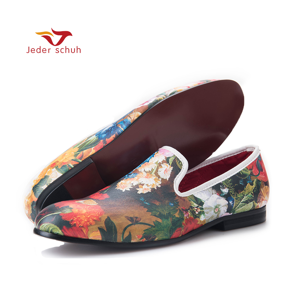 Tropical rain forest flower pattern loafers men driving shoes beach leisure style flats men