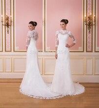 Three Quarter Sleeve Sheer Wedding Dresses Lace Sheath Strapless Applique Sweep Train Bridal Gowns yk1A264