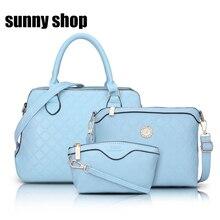 SUNNY SHOP Plaid Purses and Handbags 3 Bag Set Luxury Handbag High Quality Women Tote Bags