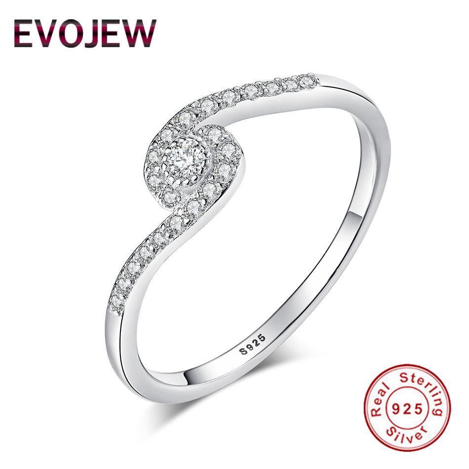 EVOJEW Luxury 925 Sterling Silver Crystal Round Shape Finger Rings For Women Ladies Authentic 925 Silver Ring Jewelry Making
