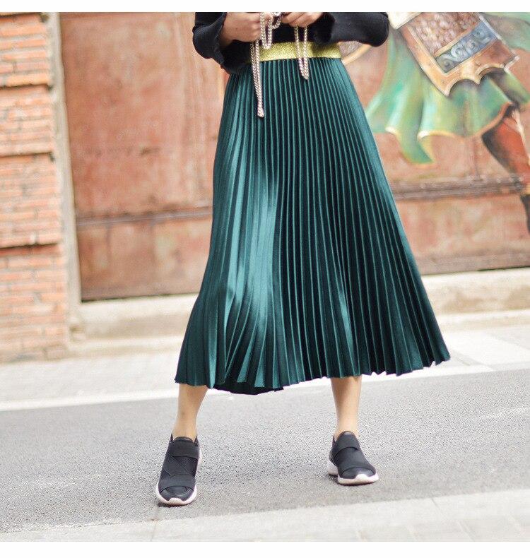 Stretch High Waist Long Pleated Skirt 4