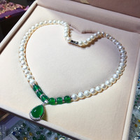 Wholesale Natural Freshwater Pearl/Green Jades Elegant Pendants & Necklaces for Mother Grandmother Birthday Gift Jewelry
