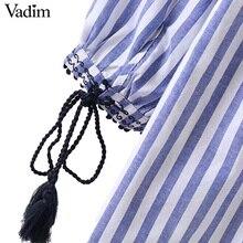Women V neck floral embroidery tassel shirts