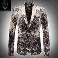 Blazer casamento 2017 chegada nova venda direta da Fábrica dos homens de veludo terno de luxo flor de impressão de alta qualidade tamanho M-3XL 7777
